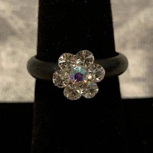 Jewelry - Shiny rhinestone flower ring on black rubber ring